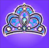 Tiara crown women's wedding with a blue stone Royalty Free Stock Images