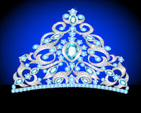 Tiara crown womens wedding with a blue stone Stock Photography