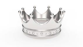 tiara da coroa da prata do ouro da ilustração 3D com diamantes Imagem de Stock Royalty Free