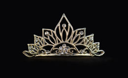 Tiara or diadem or crown on black Royalty Free Stock Photography