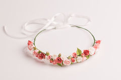 Tiara with handmade flowers on a white background Stock Photo