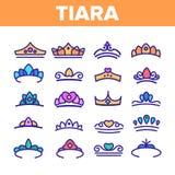 Tiara, l?nea fina sistema del vector accesorio real de los iconos ilustración del vector