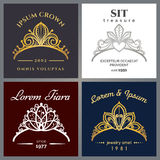 Tiara luxury logo set. Vector jewelry crowns emblems for expensive restaurant or beauty woman stock illustration
