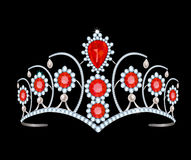 Tiara with rubies. Diamond tiara with rubies and pearls on a black background stock illustration