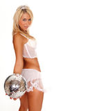 Tiara woman holding disco ball Stock Photo