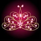 Tiara womens wedding with pink precious stones Royalty Free Stock Photos