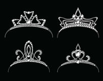 Tiaras and crowns with diamond vector set Stock Photo