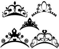 Tiaras del vector fijadas Corone real para la reina o la princesa, ejemplo de los derechos del s?mbolo Colecci?n de coronas her?l libre illustration