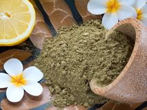 Tiare flowers, lemon and henna powder Royalty Free Stock Images