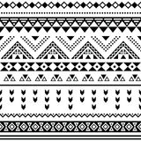 Tibal seamless pattern, white aztec prin black Stock Photos