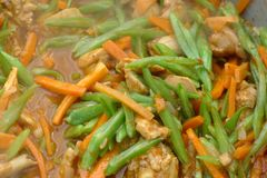 Tibatan dish with beans carrot and chicken Stock Image