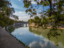 The Tiber. Beautiful summer view of the river Tiber with the dome of St. Peter`s Basilica in the background. In Rome, Italy stock photos
