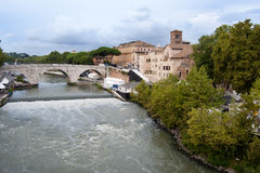 The Tiber Island and the bridge Cestius Royalty Free Stock Images