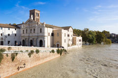 Tiber Island and a flooded Tiber, Rome, Italy Stock Image