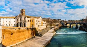 Tiber Island is only island in Tiber river Stock Photo