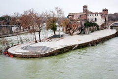 The Tiber Island (Isola Tiberina) in Rome Stock Images