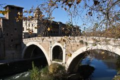 Tiber Island in Rome Royalty Free Stock Photography
