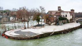 Tiber Island in Rome city in winter Stock Photography