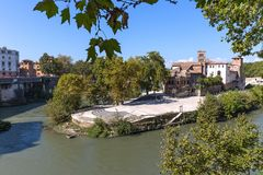 Tiber Island in Rome, Isola Tiberina, Rome, Italy stock photo