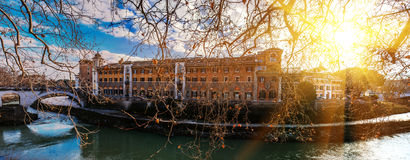 Tiber Island in Rome, Italy. Timelapse: Tiber Island is only island in Tiber river which runs through Rome. Tiber island is located in southern bend of Tiber stock image