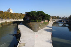 Tiber Island. Sunny day in rome: the Tiber island in the center of capital, on the river Tiber stock photo