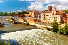 Tiber island in sunny day, Rome, Italy Royalty Free Stock Photo