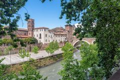 Tiber island - Tevere river - Rome - Italy. View of Tiber island - Tevere river - Rome - Italy royalty free stock photo