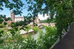 Tiber island - Tevere river - Rome - Italy. View of Tiber island - Tevere river - Rome - Italy stock photography