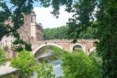 Tiber island - Tevere river - Rome - Italy. View of Tiber island - Tevere river - Rome - Italy royalty free stock images