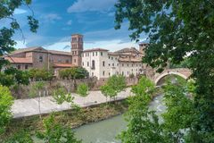 Tiber island - Tevere river - Rome - Italy. View of Tiber island - Tevere river - Rome - Italy stock photos