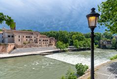 Tiber island - Tevere river - Rome - Italy. View of Tiber island - Tevere river - Rome - Italy stock images