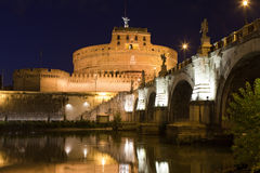 Tiber, landmark medieval castle Saint Angel Rome Royalty Free Stock Photo