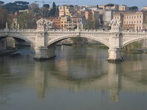 Tiber river. A bridge over the Tiber river in Rome Stock Images
