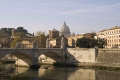 Tiber River. With the dome of Saint Peter's Basilica in the background. Rome, Italy royalty free stock photography