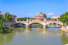 Tiber River and the bridge Stock Image