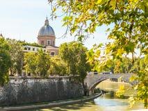 Tiber River Embankment, Rome Stock Photo