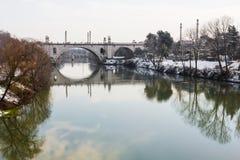 Tiber river and Flaminio bridge. Tiber river and Flaminio bridge (Rome, Italy stock photo