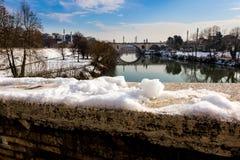 Tiber river and Flaminio bridge. Tiber river and Flaminio bridge (Rome, Italy royalty free stock photos