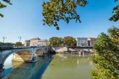 Tiber river n Rome under a clear sky Royalty Free Stock Images