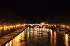 Tiber river at night Royalty Free Stock Images