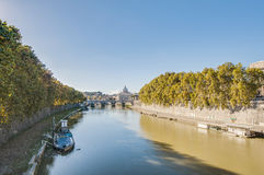 The Tiber river, passing through Rome. Royalty Free Stock Photo
