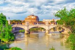 The Tiber River, Ponte Sant`Angelo Bridge, Sant`Angelo Castle. R. Ome, Italy royalty free stock image