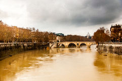 Tiber river during the rain strom Royalty Free Stock Images
