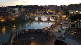 Tiber River, reflection, night, town, city. Tiber River is reflection, city and river. That marvel has night, cityscape and human settlement and that beauty royalty free stock image