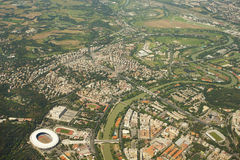 Tiber river in Rome, Italy. From above with Stadio Olimpico in the view stock image