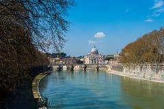 Tiber river in Rome Italy Stock Image