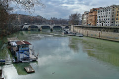 Tiber river in Rome, Italy. View of the Tiber river in Rome, Italy royalty free stock photo