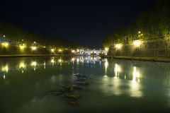 Tiber river in Rome at night Stock Photography