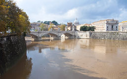 Tiber River in Rome, overwhelmed Royalty Free Stock Images