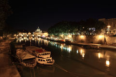 Tiber river, Sant' Angelo Bridge and Basilica Royalty Free Stock Image
